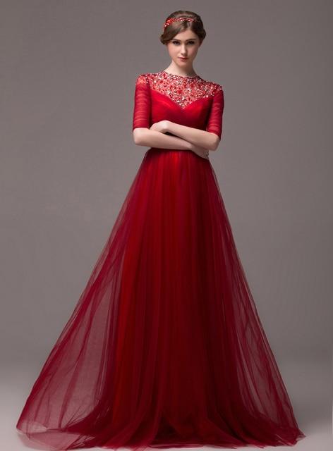 58381e758 Elegante cuello alto Crystal Corset volver media manga vestidos fiesta  largo vestido de noche rojo