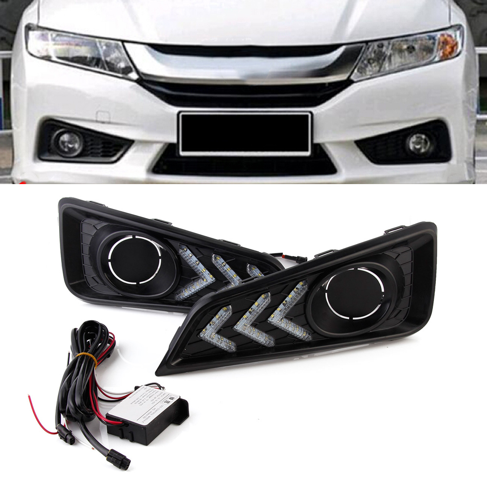 Car LED Day Light DRL Daytime Running Lights Driving Lamp 12V For Honda City 2015-2017 Free Shipping drl for chevrolet captiva 2013 2016 daytime running lights double color led day driving light with lamp door free shipping