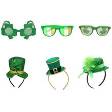 Lucky St. Patricks Day Green Hat Headband Lucky Grass Glasses Irish Traditional Festival Decorations 2019