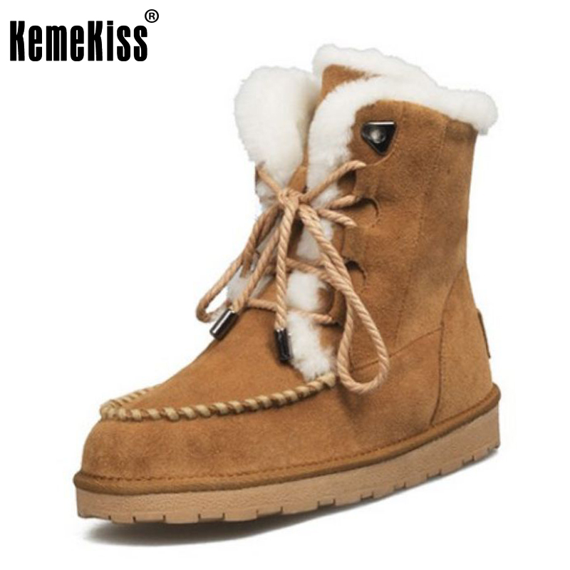 KemeKiss Size 34-42 Women Genuine Leather Ankle Snow Boots Corss Strap Winter Shoes Warm Boot Thick Fur Botas For Women Footwear kemekiss women warm plush warm snow boots for women thick platform ankle botas female thick fur winter footwear size 36 40