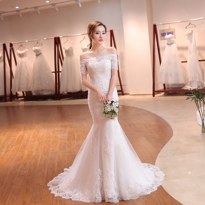 Image 4 - Luxury Sexy Mermaid Train Lace Appliques Half Sleeve Wedding Dress 2018 New Fashion Korean Style A line bride Vestido De Noiva-in Wedding Dresses from Weddings & Events