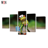 WEEN HD Printed Frog Picture Stretched And Framed Direatly Handed 5 Piece Wall Canvas Art For Living Room cuadros decoracion