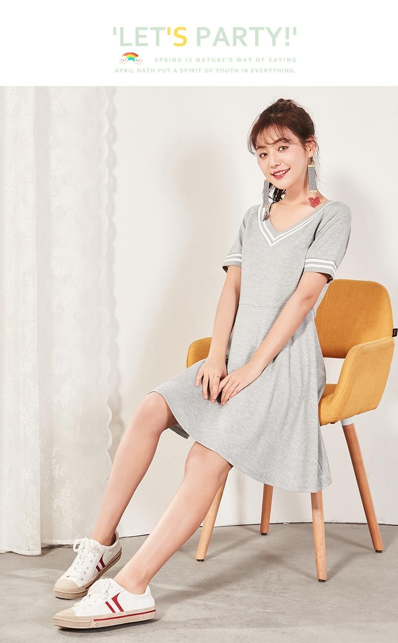 Semir 2018 Summer New Dress Female Slim V-neck Waist Temperament Dress Student Hit Color Pleated Lady Dress For Women 6