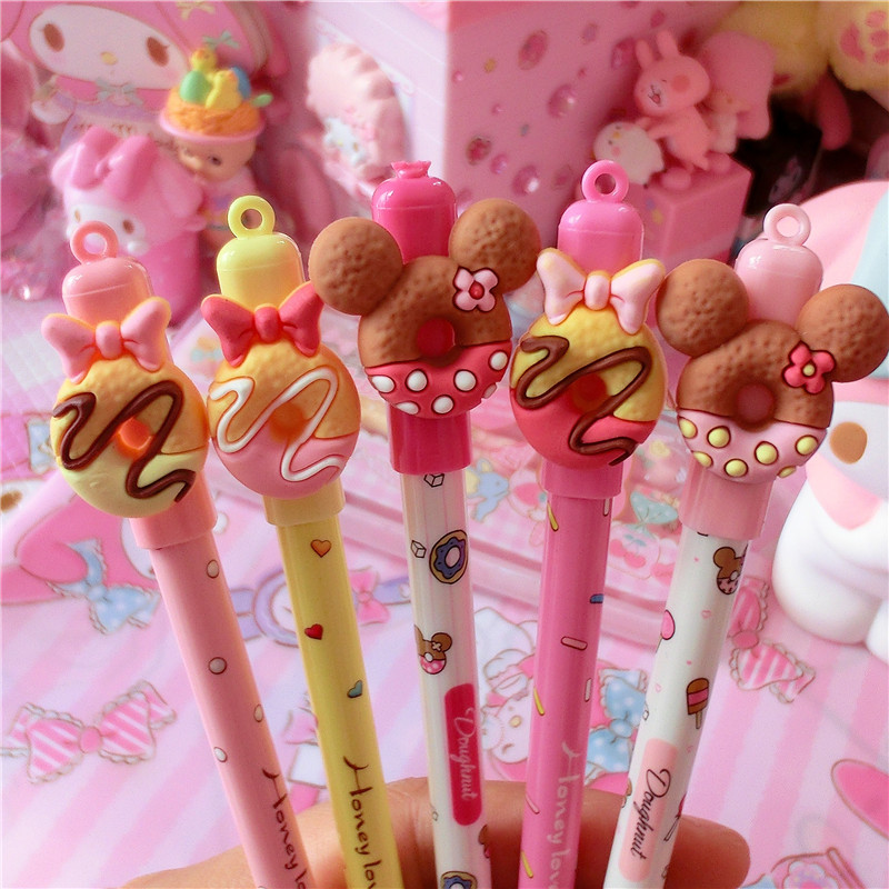 0.5mm Cute Kawaii Chocolate Donut Bow Erasable Gel Pens Erasable Blue Ink Pen For Kids School Stationery Girls Student Gifts