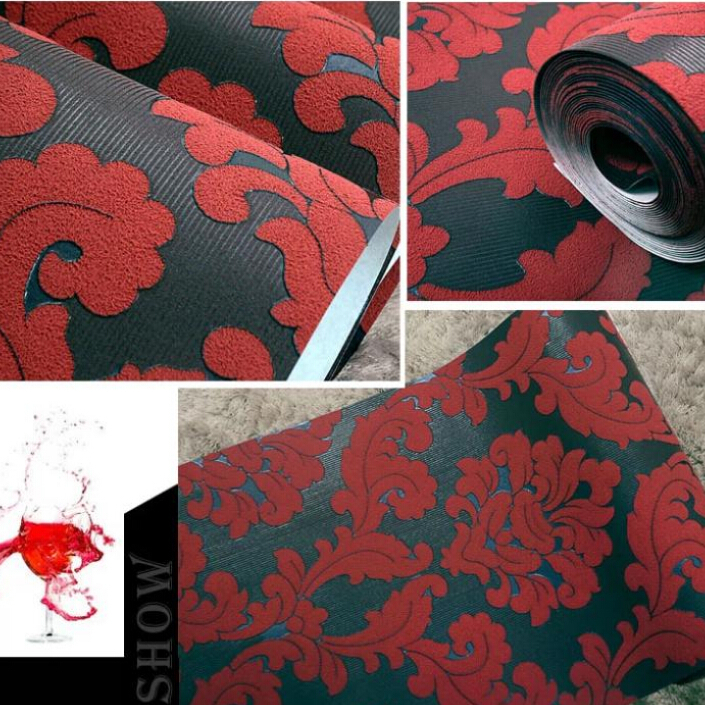European Velvet Background Wallpaper Red Living Room Wall Paper Fl Wallcovering Roll Bedroom Wp007 In Wallpapers From Home