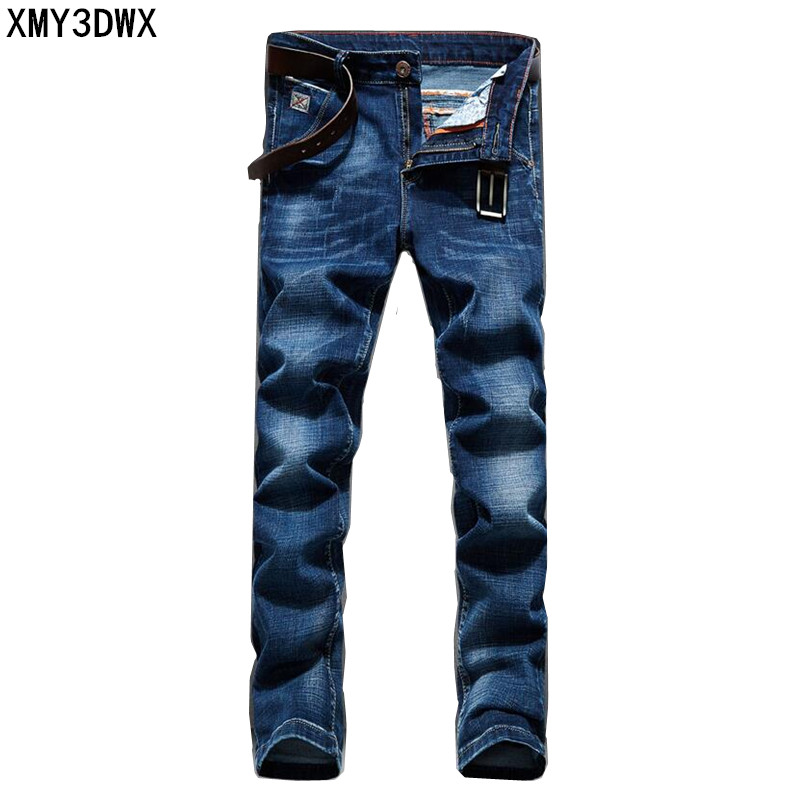 2017 Men's Jeans Business Casual Thin Straight Slim Fit Blue Jeans Stretch Denim Pants Trousers Classic Cowboys Young Man Jeans mens wash blue jeans thin slim fit straight denim short jeans