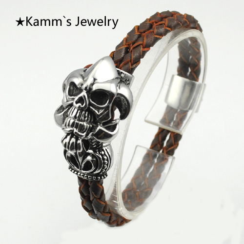Ghost Silver Skull 316 Stainless Steel Casting Bracelet Brown Leather Rope Wrap pulseiras femininas best friends bracelete KB572