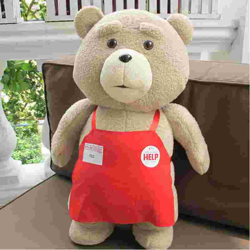 Big size Teddy Bear Ted 2 Plush Toys In Apron 45CM Soft Stuffed Animals Ted Bear Plush Dolls For Baby Kids Christmas Gifts 2016 movie teddy bear ted 2 plush toys in apron soft stuffed animals plush 45cm