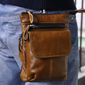 Crazy Horse Genuine Leather Cowhide Waist Pack Hook Travel Vintage Men Camera Cell/Mobile Phone Case Cover Hip Belt Fanny Pack