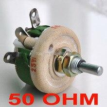 (10 шт./лот) 25 Вт 50 Ом высокомощный проволочный потенциометр, реостат, переменный резистор, 25 Вт.