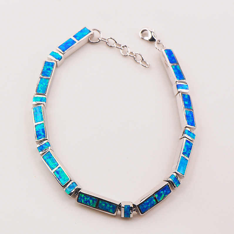 "Blue Fire Opal 925 Sterling Silver Bracelet  P84 8""  Free Ship High quantity Factory price"