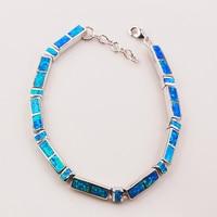 Blue Fire Opal 925 Sterling Silver Bracelet P84 8