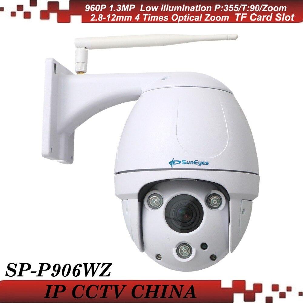 SunEyes SP P906WZ 960P HD Pan Tilt Zoom Dome IP Network Camera Wireless Outdoor Waterproof Micro