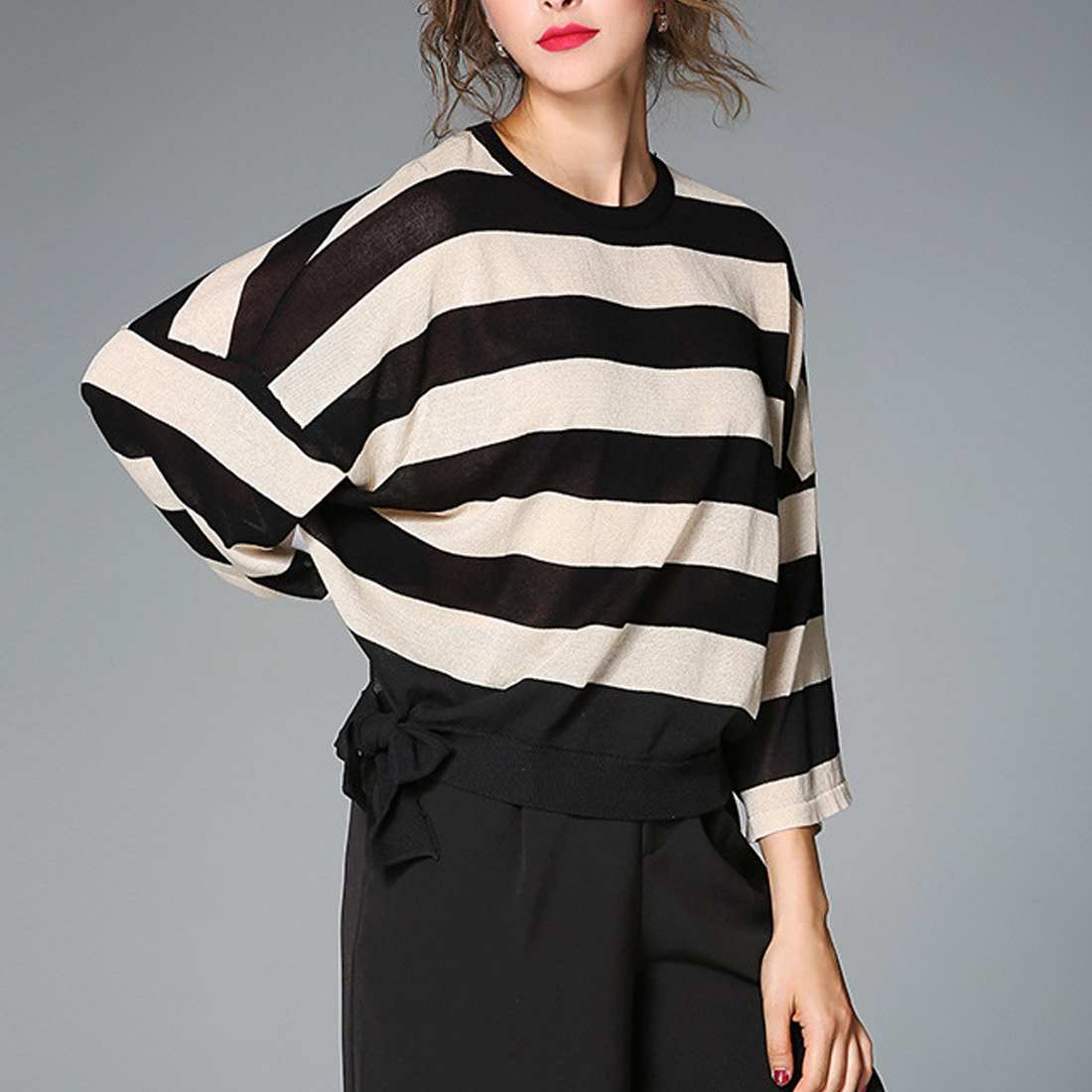 Women black white striped knitted sweaters bow design long sleeve slim pullover female autumn casual tops Knitted Sweater