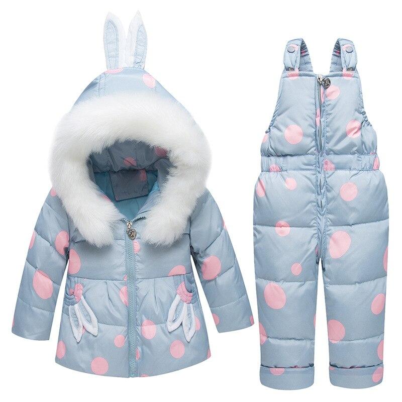 Russie hiver enfants vêtements ensembles combinaison vestes de neige + bavoir pantalon 2 pièces ensemble bébé garçon filles canard vers le bas manteaux veste avec capuche de fourrure