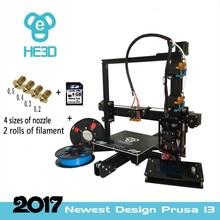 2017 New upgrade reprap auto level HE3D EI3 dual flex aluminium extruder diy 3D printer heat bed 200*200*200mm printing size