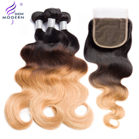 Modern Show Hair Ombre Body Wave 3 Bundles with Closure Brazilian Hair Weave Human Hair Bundles with Closure #1b/4/27 Remy Weave