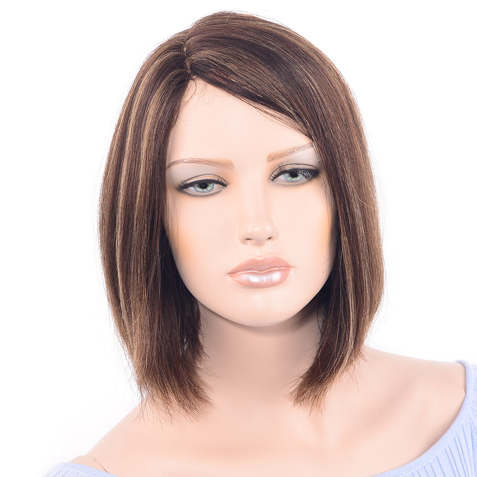 LADYSTAR Remy Hair Short Bob Wigs 150% Density Brazilian Straight Part Hand Made Human Hair Wigs For Women Mixed Color Bob Wig