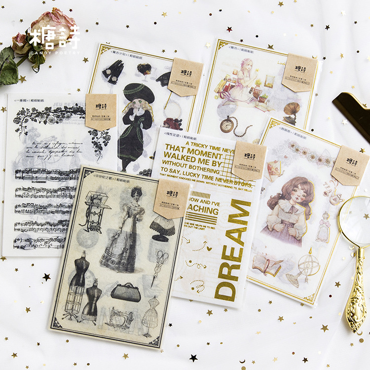 3 sheets/pack Stationery Stickers Retro Bronzing Girls Diary Planner Decorative Mobile Stickers Scrapbooking DIY Craft Stickers