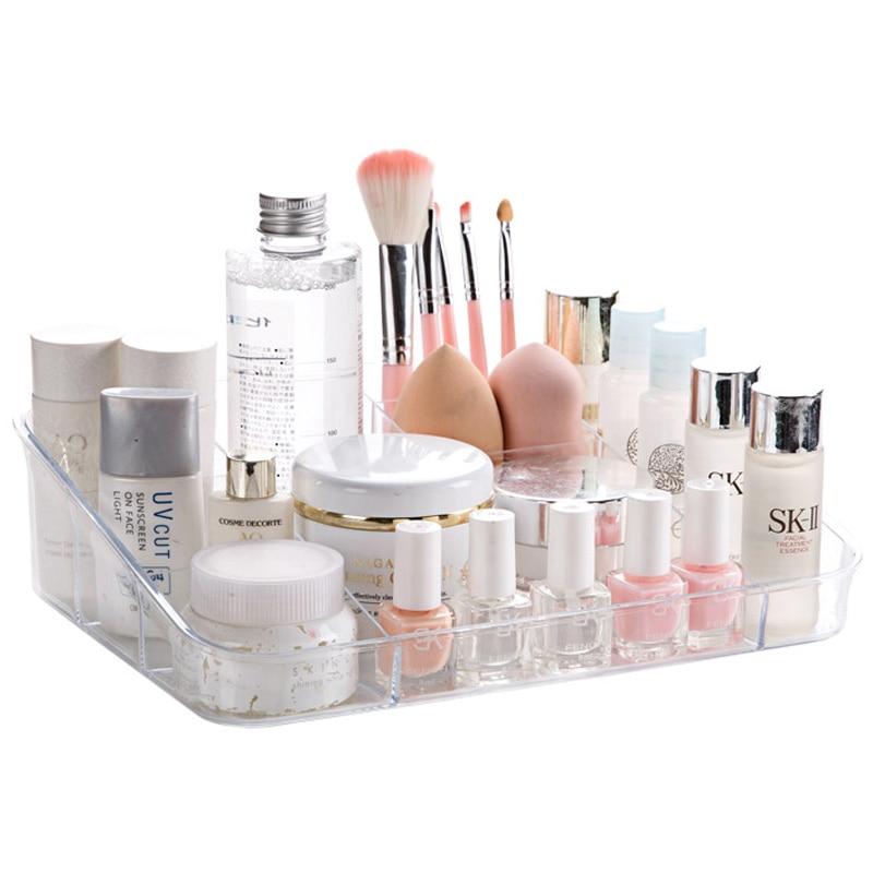 Transparent Cosmetics Storage Box Multi Grid Plastic Makeup Lipstick Polish Organizer Case Desktop Jewelry Holder Display Stand