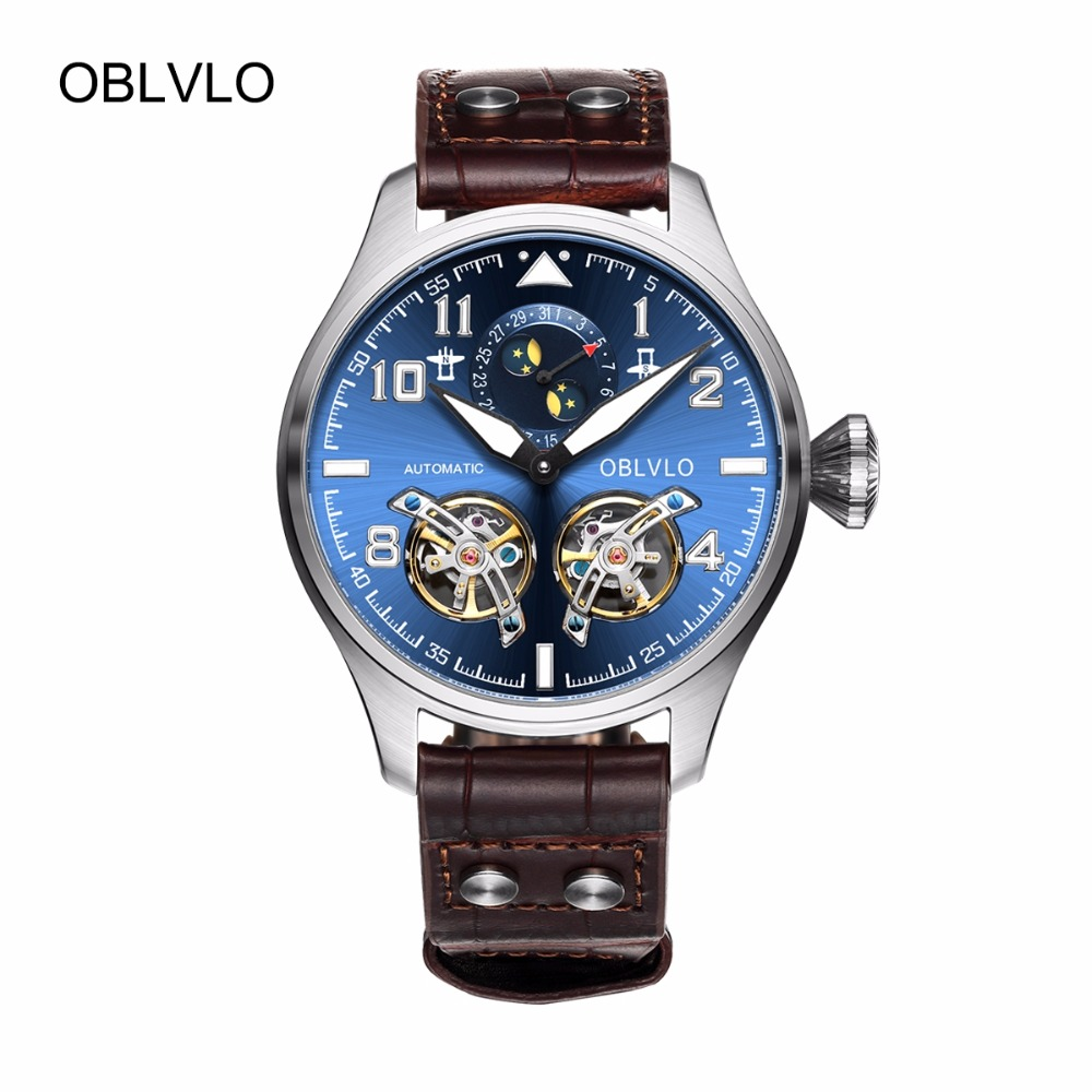 OBLVLO Mens Pilot Watches Blue Dial Brown Leather Strap Automatic Watches Steel Tourbillon Watches with Calendar OBL8232OBLVLO Mens Pilot Watches Blue Dial Brown Leather Strap Automatic Watches Steel Tourbillon Watches with Calendar OBL8232
