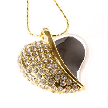Crystal Heart 64GB 32GB 16GB Jewelry Usb 512GB Flash Drive Jewelry Memory Stick Pen Drive 1TB Gadget Pendrive 2TB Necklace Gift