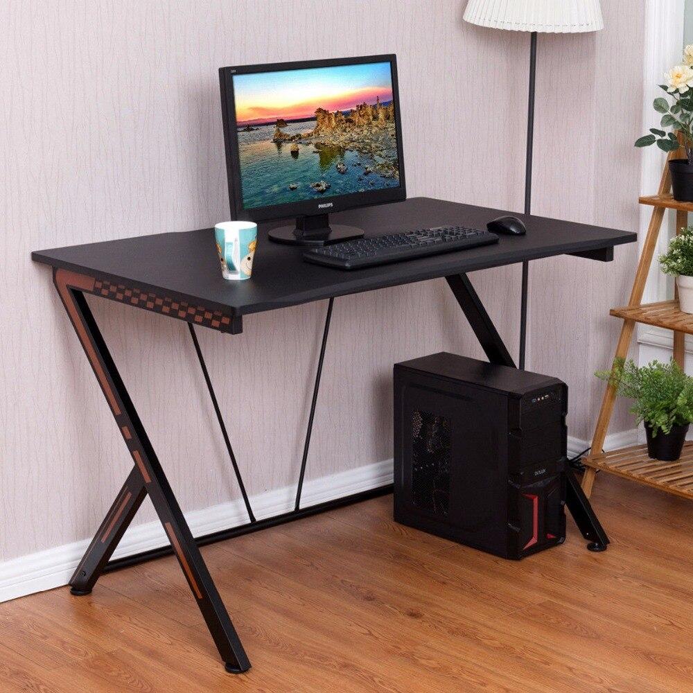 Giantex bureau de jeu bureau d'ordinateur PC table d'ordinateur portable poste de travail bureau à domicile ergonomique nouveau bureau d'ordinateur HW56320