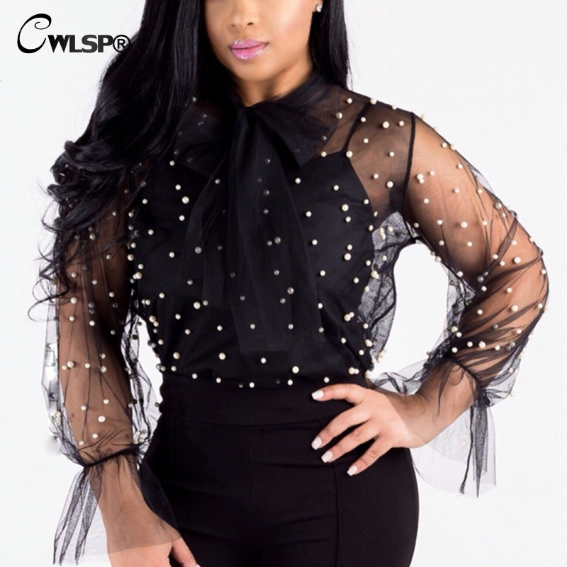 CWLSP 2018 Summer Sexy Blouse For Women Fashion Mesh See Through O-neck With Bow Beading Lace Up Blouse Hemden QZ2596