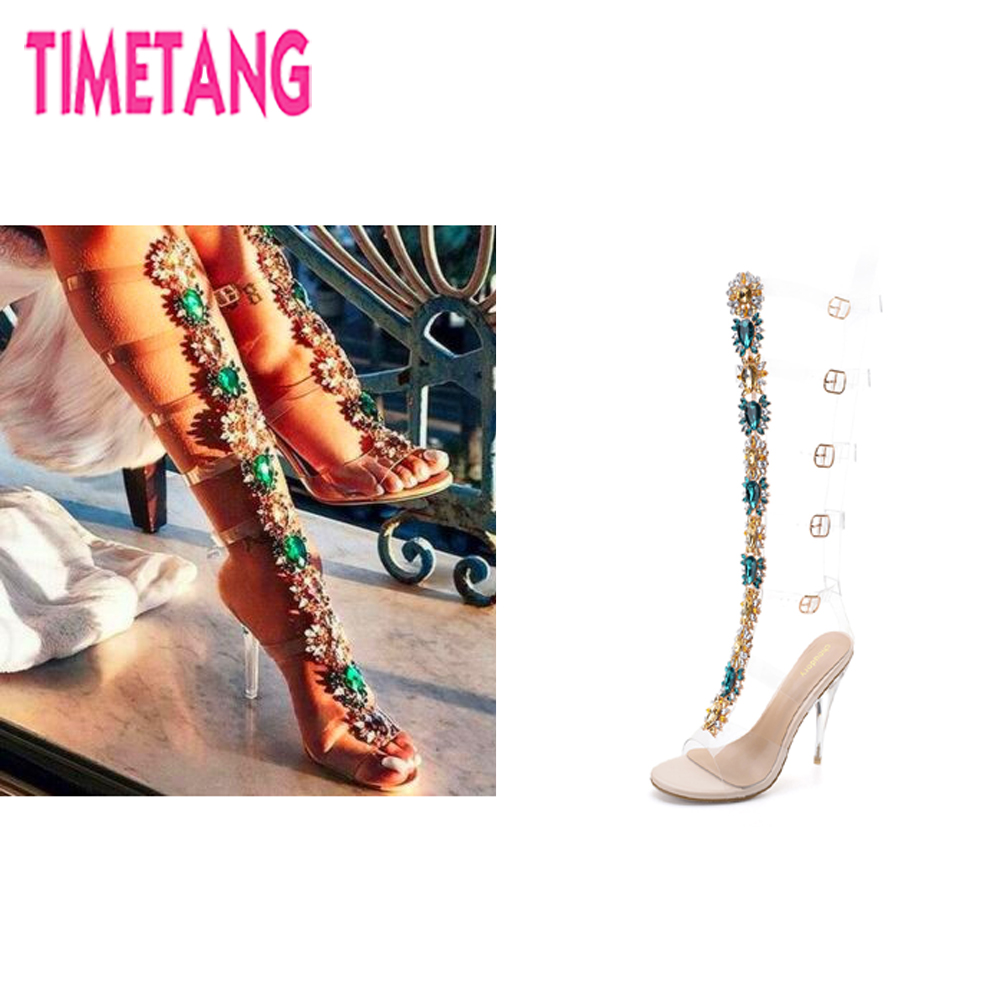 TIMETANG 2018 New Arrival Gorgeous Crystal Flower High Heel Women Ethnic Sandal Boot Sexy Spike Heel Gladiator Shoe Sheepskin In yiqitazer 2018 new design arrival sandal