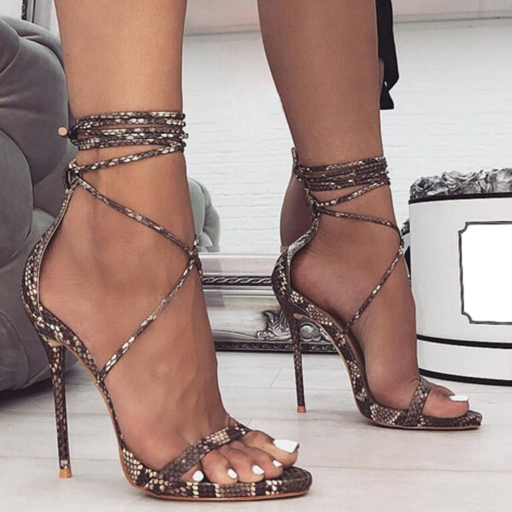 2019 Womens Snake Pattern Stiletto Sexy High Heels Roman Shoes Cross Strap Sandals gladiator sandals women туфли жнские35 40