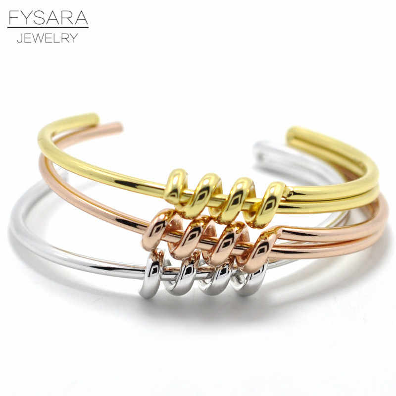 FYSARA Luxury Punk Winding Knot Bracelets & Bangles For Women Manchette Rose Gold Color Cuff Bracelets Couple Fashion Jewelry
