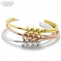 FYSARA Punk Classic Winding Knot Bracelets Bangles For Women Manchette Rose Gold Color Bangle Cuff Bracelet