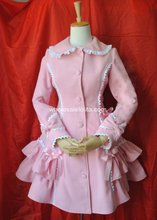 Customizable Pink Cute Princess Winter Wool Warm Bubble Coats Lolita Coat Gothic Lolita Wool 4XL 5XL 6XLCoat