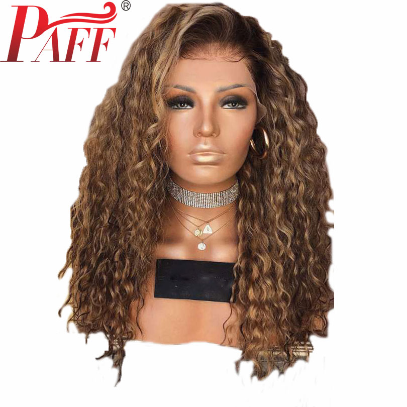 PAFF Ombre Color 13 6 Deep Part 2 Tone Dark Roots Wig Brazilian Water Wave Lace