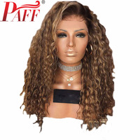 PAFF Ombre Color 13*6 Deep Part 2 Tone Dark Roots Wig Brazilian Water Wave Lace Front Human Hair Wigs For Women Free Shipping