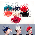 Damas elegantes roya fascinators sinamay boda razas cocktail fascinator mujeres lino sombrero de plumas de la boda/del partido accesorio para el pelo
