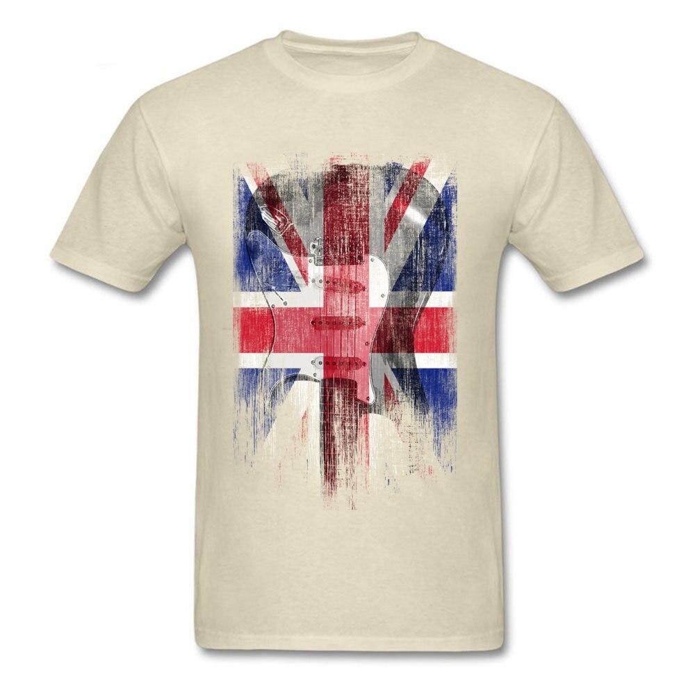 Distress Guitar flag United Kingdom Crew Neck Top T-shirts ostern Day Design Tops Shirt 2018 Newest Cotton Fabric Tee Shirts Men Distress Guitar flag United Kingdom beige