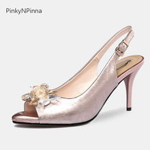 Runway style women wedding pumps peep toe shining crystal rhinestone slingback high heels stiletto patent leather luxury shoes runway crystal rhinestone rivets studded women pumps slingback pointed toe summer sandals kitten heels crystal shoes women