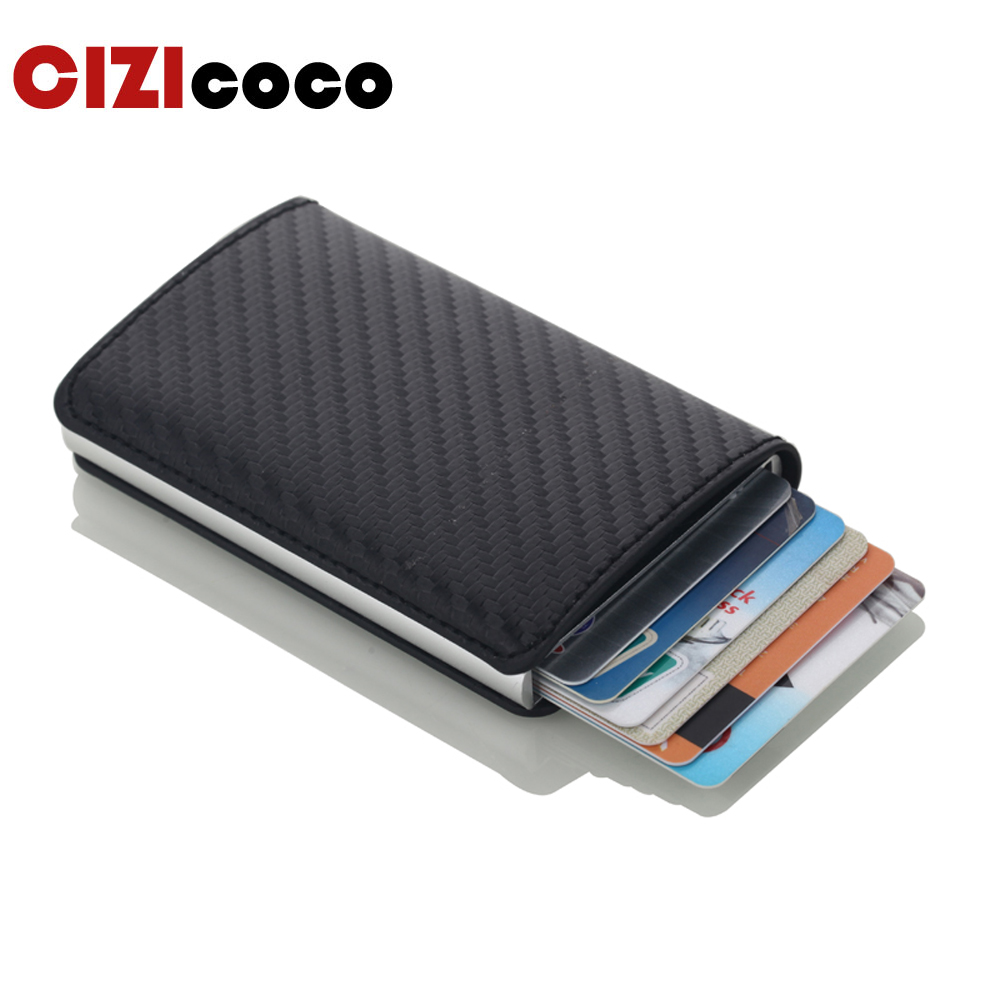 Men Credit Card Holders Business ID Card Case Fashion Automatic RFID Card Holder Aluminium Bank Card Wallets image