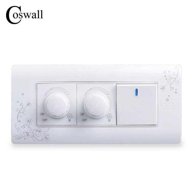 COSWALL Luxury Wall Switch Double Dimmer Regulator 300W Maximum 1 Gang 2 Way Light Switch 149mm*70mm AC 110~250VCOSWALL Luxury Wall Switch Double Dimmer Regulator 300W Maximum 1 Gang 2 Way Light Switch 149mm*70mm AC 110~250V