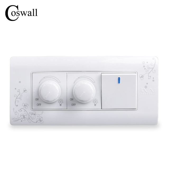 COSWALL Luxury Wall Switch Double Dimmer Regulator 300W Maximum 1