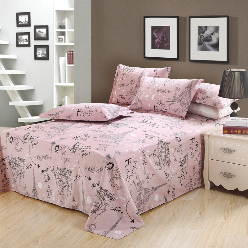 new cotton pink flat sheet sweet princess bedding 48 74cm pillowcase pink grey twin full queen. Black Bedroom Furniture Sets. Home Design Ideas
