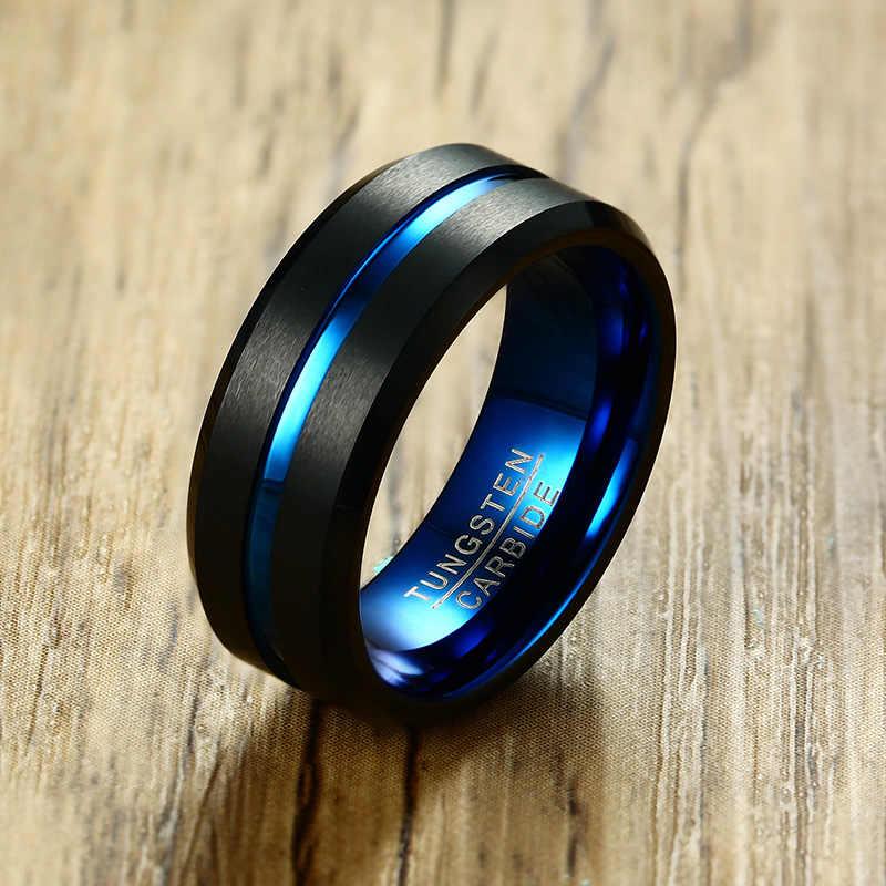Meaeguet שחור טונגסטן קרביד טבעת לגברים נשים מט סיים חתונה להקות כחול פחמן סיבי חריץ טבעות תכשיטים