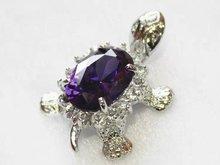 Luxury Jewelry Girls Turtle purple red blue pink gem Stone Silver Tortoise Pendants Female Luxury pendants + Necklace