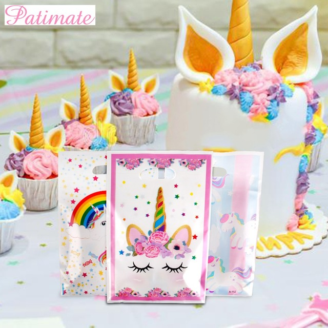 PATIMATE Cute Unicorn Birthday Plastic Party Wedding Gift Bags Wrapping Supplies Baby Shower Decor Large Big