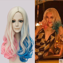 Anilnc Harleen Quinzel Sucide Harley Quinn Long Central Ombre Synthetic Cosplay Wigs +One Cap