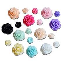 50Pcs Mixed Size Resin Flower Decoration Crafts Kawaii Bead Flatback Cabochon Fridge Magnet Scrapbook DIY Accessories Buttons