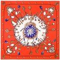100 cm * 100 cm Sarja De Seda de Seda Das Mulheres Quadrados De Metal a Corrente Chave Do Vintage Lenço de Seda de impressão Femal Alta Qualidade Retro Marca H Xale 6107