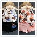 New style 2016 girls vest + shorts suit hole bear design  summer   baby girls clothes set  set Kids clothing infant clothing