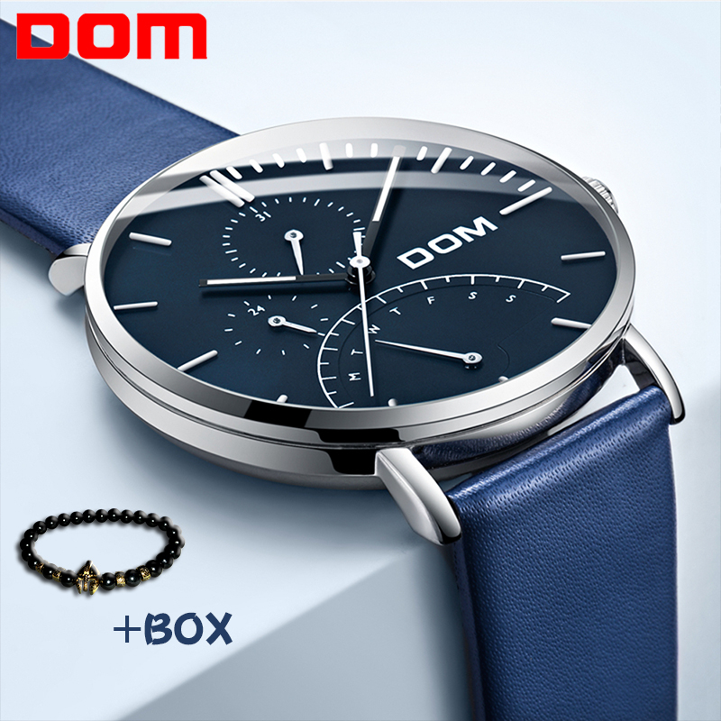DOM Fashion Men Watch Quartz watch Waterproof Multi Function Mesh belt Business Wristwatch Luxury Brand Luminous Watch Men Sport new fashionable men business silver belt gear quartz watch